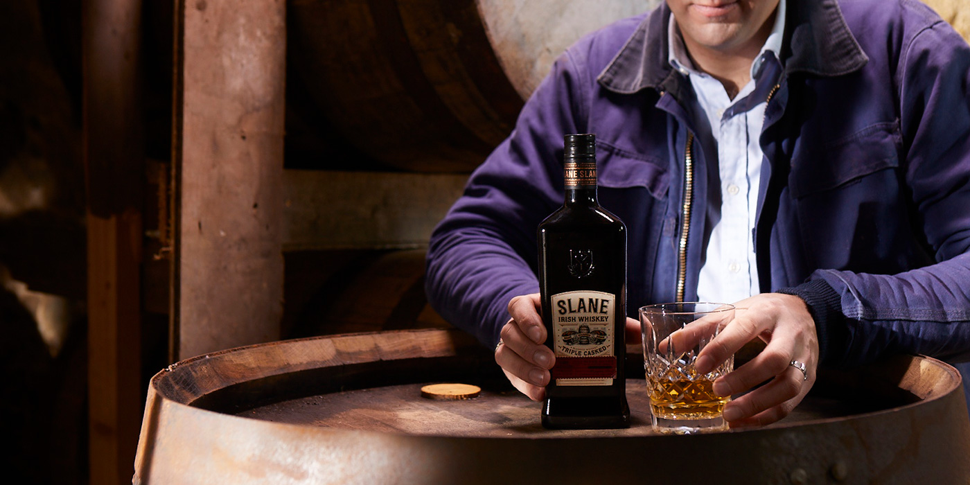Slane Irish Whiskey a blend of malt, toasted grain and malt whiskeys created in Slane, Ireland